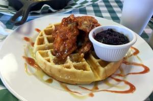 Waffle & Wings: The classic southern creation, brought to a whole other level by the spiciness of the wings contrasting with the mildness of the fluffy waffle. The blueberry compote that comes alongside is a wonderfully complementary condiment.